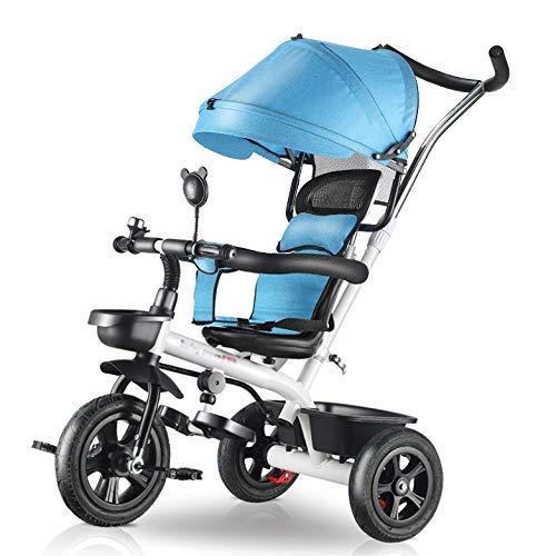DBSCD Trikes für Kleinkinder, Baby-Dreirad, 4-in-1-Kinderwagen, Lernfahrrad mit Schiebegriff, verstellbares Verdeck, Blau/Braun/Rot (Farbe: Blau)