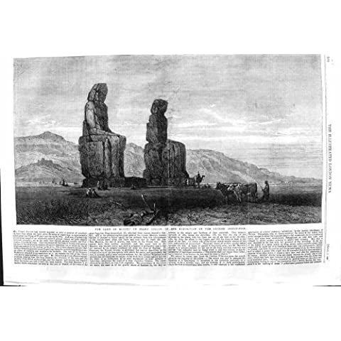 Impresión Antigua del Llano 1862 de la Estatua del Ganado del Camello de Egipto Goorna Dillon