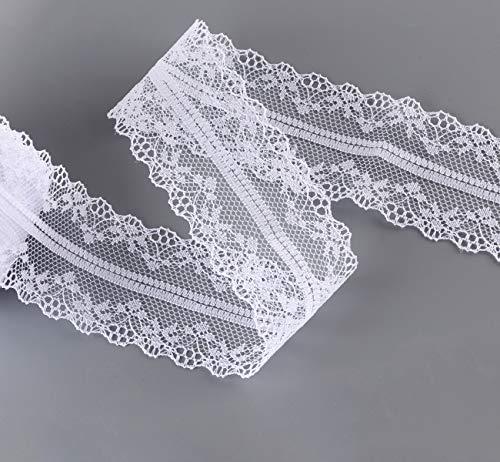 2X15M Spitzenbordüre Vintage Absofine Spitzenborte Spitzenband Weiß 4cm Breit