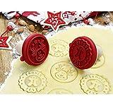 Lu Keksstempel Keks-/Ausstecher+Stempel 2in1 Frohes Fest Cookies, Kunststoff, Mehrfarbig, 6 x 6 x 5,8 cm