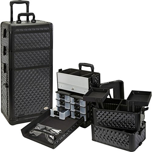 MUA LIMITED Professional Rolling Makeup Artist Case with Trolley, 3 in 1 Secure Locking Multifunction Cosmetic Organiser with Removable Drawers, Black Diamond with Black Trim