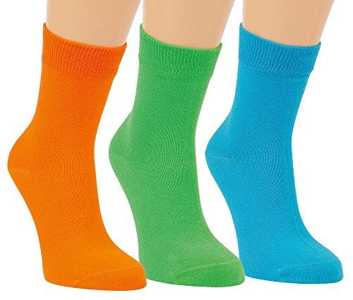 Vitasox Kinder M/ädchen Sneaker Socken Sneakersocken Baumwolle mit Komfortrand einfarbig ohne Naht 3er 6er Pack