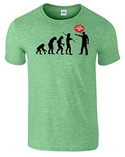 Evolution Stop Following Me Komisch Herren T-Shirt Heide Irischen Grün