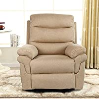 Bristole Fabric Recliner Chair, Beige - 105H x 86W x 96D cm