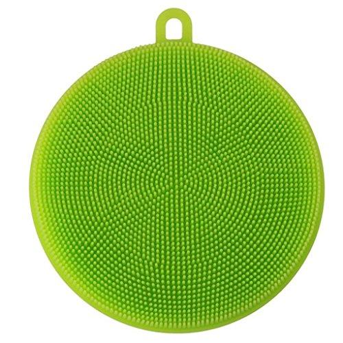 Wohnen Silikonschwamm,Jaminy Silikon GeschirrspÜL Schwamm Wäscher KÜChe Reinigung Antibakterielle Werkzeug Bürste (Stoff Stück Großes Gesicht)