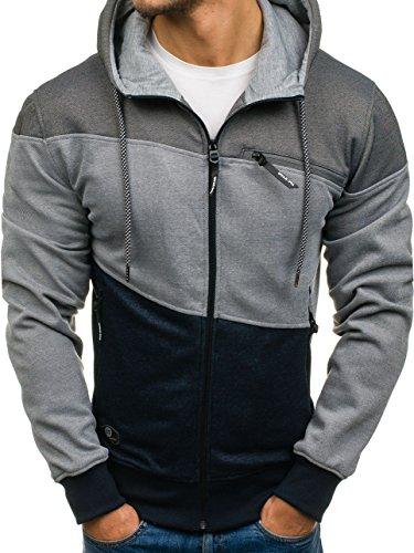 BOLF – Felpa con cappuccio – Collo alto – Logo – Con zip – Uomo [1A1] Blu-Grafite