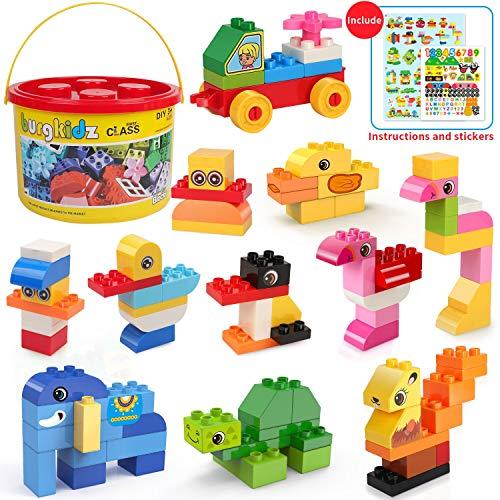 Burgkidz grandi mattoni da costruzione, 135 pezzi giocattoli educativi per bambini, secchio di stoccaggio portatile, compatibili con tutti i principali blocchi di marca