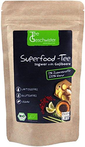Tee-Geschwister BIO Superfood Ingwertee mit Gojibeeren | Erkältungs-Tee für das Immunsystem | Geschenk-Idee für Gute Besserung Geschenke | Ingwer Zitronen-Tee | ohne Zusatzstoffe | 100g