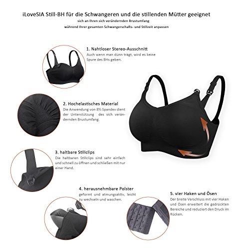 iLoveSIA® Damen Still-BHs Pack Schwangerschaft Still ohne Bügel nahtlose Umstandsmode Unterwäsche S M L XL Neu 3PCS Pack (Licht Rosa+Schwarz+Ekrü)