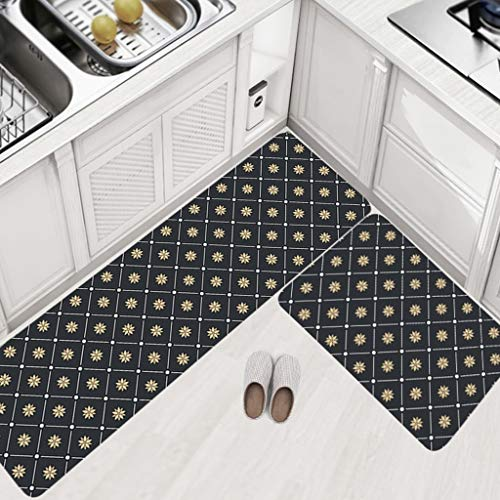 Tsinggs Anti-Fatigue Küche Teppiche Set von 2 Nicht-Slip Comfort Mats Cushioned Kitchen Floor Mats Set Waterproof Soft Kitchen Mat Bad Rug Doormat Carpet Set 17