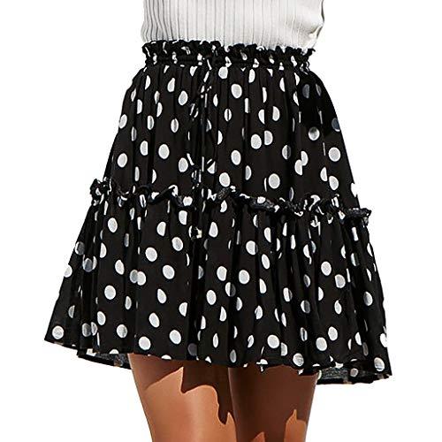 BHYDRY Mode Frauen Casual Polka Dot Print Rüschen A-Line Plissee Lace Up Short Rock(XXX-Large,Schwarz)