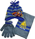 Childrens 3pc JCB Winter Beanie Hat, Gloves (mittens) and Scarf Set - 1 to 6 yrs[4-6 Years][Grey]