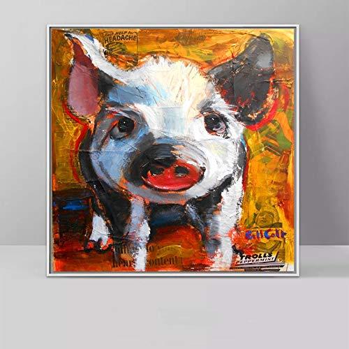 Wand Schaf Ölgemälde Mutter und Kind Tier Dekoration Kunstdruck Leinwand Wohnzimmer Kinderzimmer rahmenlose Malerei 40x40cm