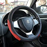 #4: OSHOTTO 100% Genuine Leather Car Steering Cover Black and Red Colour for Maruti Suzuki Swift