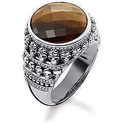 Thomas Sabo - Unisex anillo de calavera de plata de ley 925, ennegrecido, ojo de tigre facetado