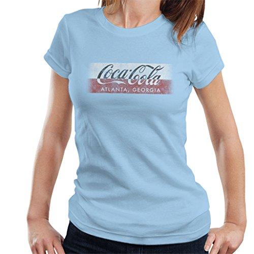 Coca Cola Georgia Stripe Women's T-Shirt Sky Blue
