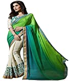 Avail Sarees Green Color Georgette Fabric Embroidery Work Saree ( sarees for women party wear offer designer sarees for women latest design sarees new