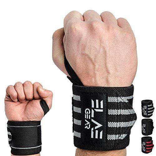ELAE Professionelle Handgelenkbandage [2er Set] 70 cm Länge - Wrist Wraps für Kraftsport, Bodybuilding, Powerlifting, Gewichtheben und Fitness - One Size für Frauen und Männer Schwarz-Silber