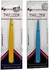 BoldnYoung Slant tip Tweezers Eyebrow Plucker Pack of 2