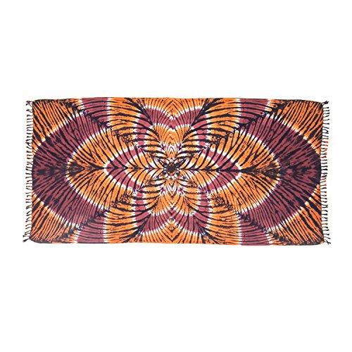 ManuMar Damen Sarong | Pareo Strandtuch | Leichtes Wickeltuch mit Fransen-Quasten (L: 115 x 225 cm, Braun Orange Mandala)