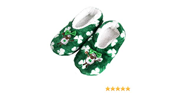 d726d94e0efc9 Carrolls Irish Gifts Seamus The Sheep Fleece Lined Slippers With White  Shamrock Design: Amazon.co.uk: Shoes & Bags