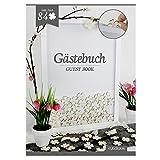 Gästebuch im Rahmen inkl. 84 Kleeblätter aus Holz - ideal für Hochzeit, Taufe, Geburtstag uvm.