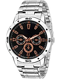 Snapcrowd Analogue Black Dail Stainless Steel Silver Color Analog Men's Watch With Metal Chain
