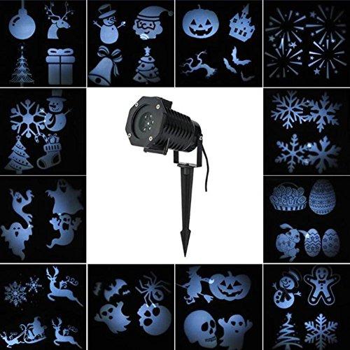ojektionslampe Schwarz und weiß Lichter im freien wasserdicht 12 Arten von Mustern können geändert Werden Weihnachten Halloween dekorative Lichter ()