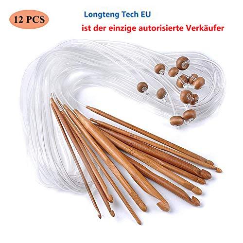 8 Gewebten Teppich (12 Stück Tunesische Bambus Afghanische Häkelnadel verschwelt Bambus Nadel Teppich Extended Crochets Afghan Carbonized Häkelnadeln in Verschiedenen Größen ( 3-10mm) Gesamtlänge von 1,2 m (12 Pieces))