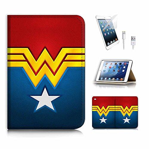 (für iPad Mini 4, Generation 4) Flip Wallet Schutzhülle & Displayschutzfolie Bundle. a4268Wonder Woman
