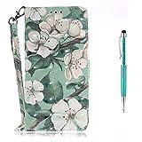LG G7 Hülle [Lebenslange Garantie],Grandoin Handyhülle im Brieftasche-Stil für LG G7 Handytasche PU Leder Flip Cover 3D Bunte Muster Book Case Schutzhülle mit [aktualisierter TPU Innenschale] [Aufstellfunktion] [Ständer Kartenfach] [Magnetverschluss] Etui Case (Aquarell Blume)