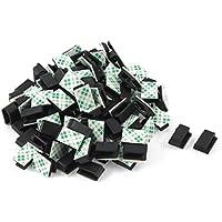 Clip de lazo de cable adhesivo - TOOGOO(R) 100 piezas clip de lazo de soporte de cable adhesivo organizador de caida de abrazadera