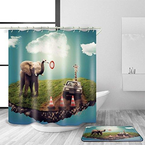 AN-LKYIQI Bad Zubehör Duschvorhang und Bad Matte Set Polyester Material Wasserdicht Mildewproof 3D Digitaldruck Elefanten Pattern Bad Dekor mit 12 Kunststoff Haken Multi Size , 180 x 240 cm