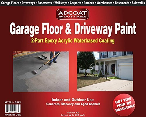 Garage Floor & Driveway Paint - 2-Part Acrylic Epoxy - Interior Exterior - 1 Gallon Kit - Grey by AdCoat Industries