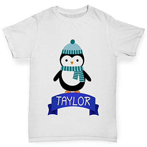 TWISTED ENVY Christmas Penguin Personalised Girl's Funny Cotton T-Shirt, Comfortable and Soft Classic Tee with Unique Design