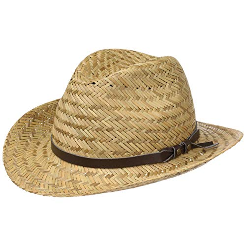 (Lipodo Wyoming Kinder Cowboy Strohhut Kinderhut Sommerhut Westernhut Cowboyhut Strandhut Hut für Sommer (54 cm - Natur))