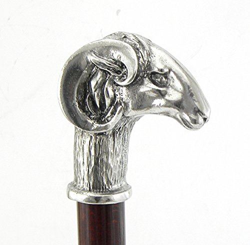 Cavagnini Gehstock, Griff in Form eines Widders, Holz und solides Zinn, maßgefertigte Länge, hergestellt in Italien, Handwerkskunst -