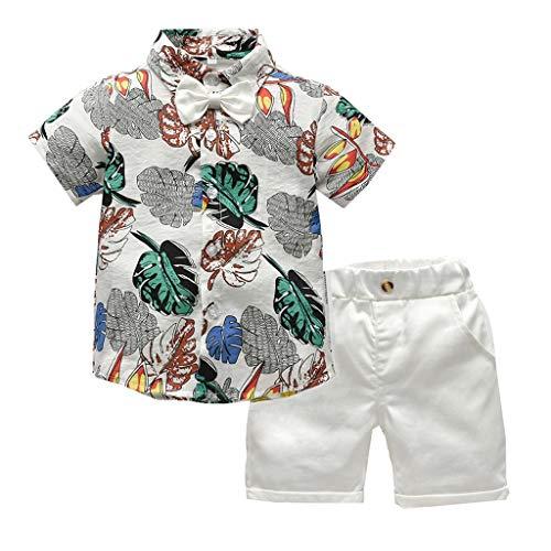 EUCoo_ Kinder Männlich Baby Kinderbekleidung 1-5 Jahre Kurzarm einfarbig Fliege Hawaii-Stil Hemd Strickjacke + einfarbig Shorts Gentleman Set(Weiß, 90) -