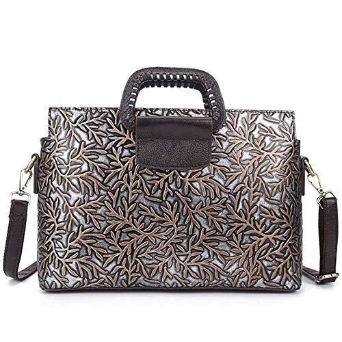 Designer Echtes Leder Retro Womens Aktentasche Nachricht Tasche Prägung Große Handtaschen Laptop-Tasche Fashion Messenger Schulter Geldbörse (Color : Silver, Size : M) -