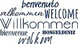 GRAZDesign 300223_40_WT086 Wandtattoo Willkommen | Wandspruch für Eingang | Wandsticker in Vielen Sprachen (70x40cm // 086 brillantblau)