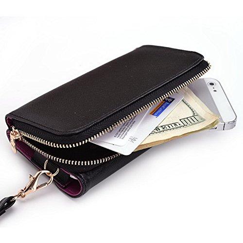 Kroo d'embrayage portefeuille avec dragonne et sangle bandoulière pour Samsung Galaxy S4Zoom Multicolore - Green and Pink Multicolore - Black and Violet