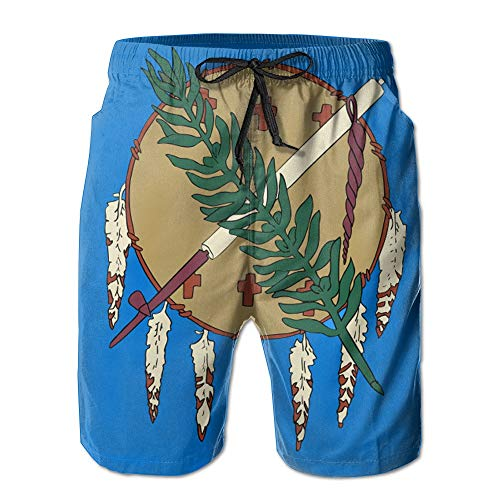 Qfunny Flag of Oklahoma Men's Quick Dry Beach Board Shorts Summer Swim Trunks for Father's Day for Boy Swimming Herrenshorts am Strand