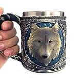 3D Tassen Wolf König Kopf Muster Becher Retro Harz Edelstahl Kaffee Teetasse Weihnachts Lustiges Geschenk