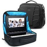 """USA Gear - Bolsa para DVD player y portátiles, 7""""-10"""", 2 correas, color negro y azul"""
