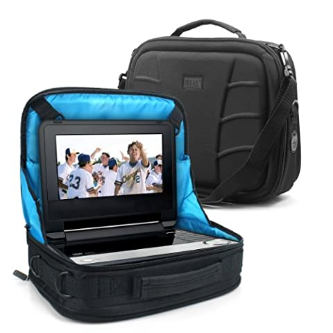 Portable BluRay DVD TV Carry Case In-Car Headrest Mount Storage Bag with Adjustable Harness Straps & Storage Pockets for 8