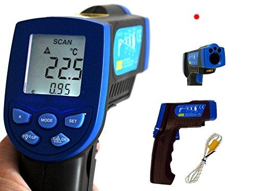 HoldPeak HP-880EK Grau/Blau Infrarot Thermometer -30-550°C 12:1 Optik einstellbare Emissivität mit zusätzlichem Thermoelement (Mit Laser Grill-thermometer)