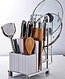 TougMoo Küche Regal Regal Wandregal mit 2 Schalen Küche-Sauce Flasche Gewürz Werkzeughalter für Küche Würzen Sooktops Regal,Weiß