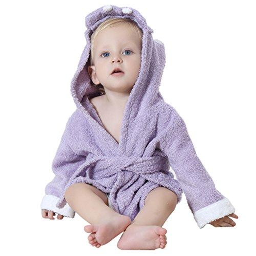 Serviettes de Bain pour Bébé À Capuchon Garçons Filles Peignoir Avec des Animaux Conception 0-24 Mois,Hippo Violet