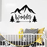 85X56 cm Wanderlust Vinyl Wall Stickers for Kids Rooms Travel Quotes Arrow Tree...