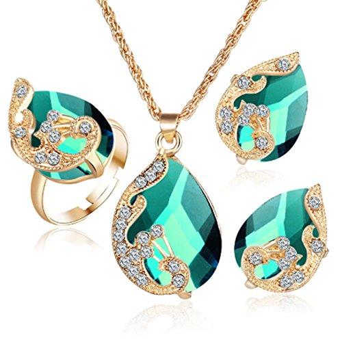 Elistelle 3 pcs Schmuck Set Halskette Ring Ohrringe für Damen (Kostüme Drei Passende)